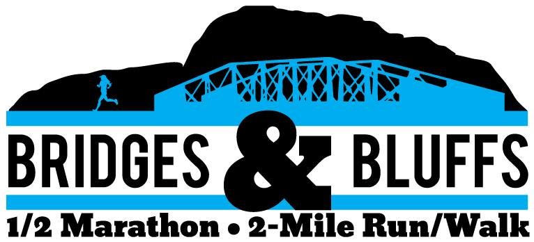 Bridges & Bluffs 1/2 Marathon Logo
