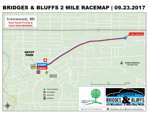 Bridges & Bluffs 2-Mile Race Map