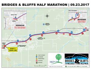 Bridges & Bluffs Half Marathon course map